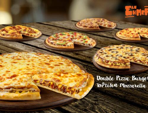 Double Pizza Burger – Τορτίγια Mozzarella | Φεβρουάριος 2017